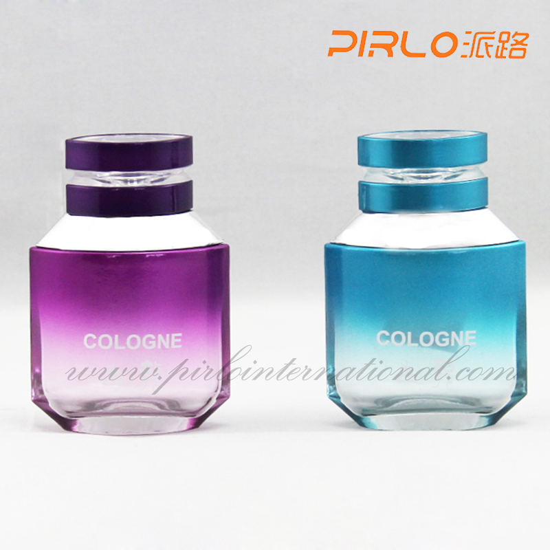 50ml Empty Cologne perfume glass bottles spray pump perfume bottles Crimp on style custom colors