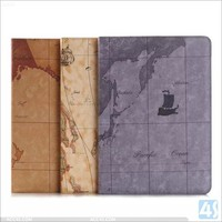 Earth lines wallet case for ipad air 2, for Ipad air 2 stand case P-APPAIR2PUCA022