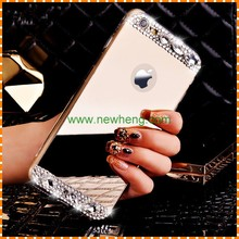 Luxury Bling Diamond Crystal Mirror Skin Soft TPU Case For iPhone 6 4.7 6Plus 5.5 Back Cover