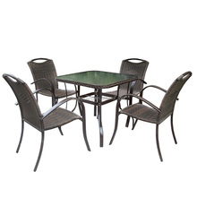 hot design PE rattan outdoor patio furniture metal restaurant dining sets