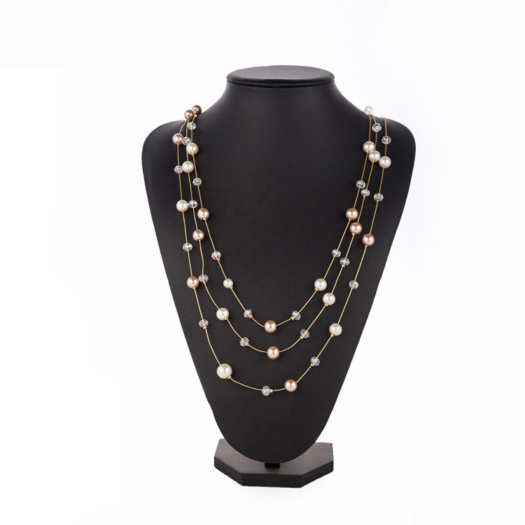 Wholesale Fashion Jewelry 3 Strand Imitation Pearl Long Necklace