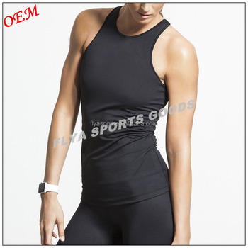 73% Polyester27% Spandex women black plain yoga vest tank tops