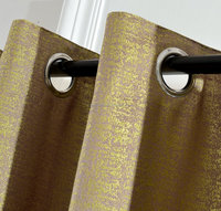 Jacquard Blackout Grommet Blue with Gold Window Curtain/Drapes/Treatment Panel