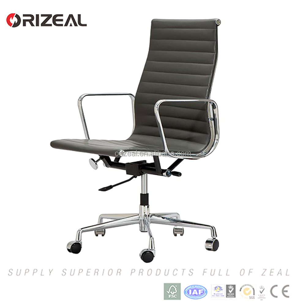 High back Black luxury leather emes office chair for office with Aluminium base