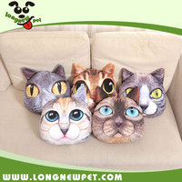 Soft High Quality Animal Shaped Pillow 3D Cat Face Bolster