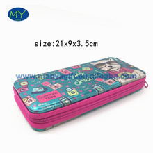 Hot selling fashion zippered round corner tin pencil case of students stationery bags china supplier
