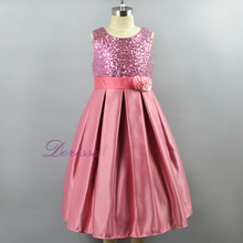 Sleeveless Pink Sequin satin Kids Party Dress Flower Girl Dress baby girl birthday party special occasion dresses