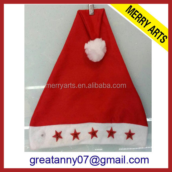 China supplier custom made cheap price wholesale in stock colorful singing santa claus hat