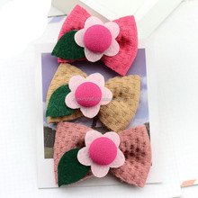 2015 new lovely baby kids hairgrips vintage fabric flowers gril dresses hair accessories