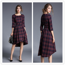 Women fashion casual elegant plaid dress career work O-neck with sashes summer autumn European and American style dress