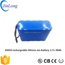 Customized 18650 rechargeable lithium ion battery 3.7v 30Ah