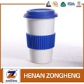 stoneware color glazed travel mug with silicone lids from china