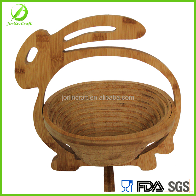 rabbit shape food grade folding wooden fruit basket