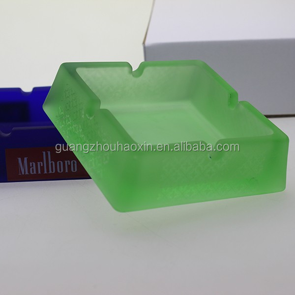 Hot selling 4 holes frosted large square green glass ashtrays with best price wholesale