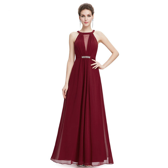 New Fashion A Line Sleeveless Burgundy Chiffon Crystal Long Prom Dress