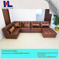 Modern style livingroom home furniture brown leather lounge