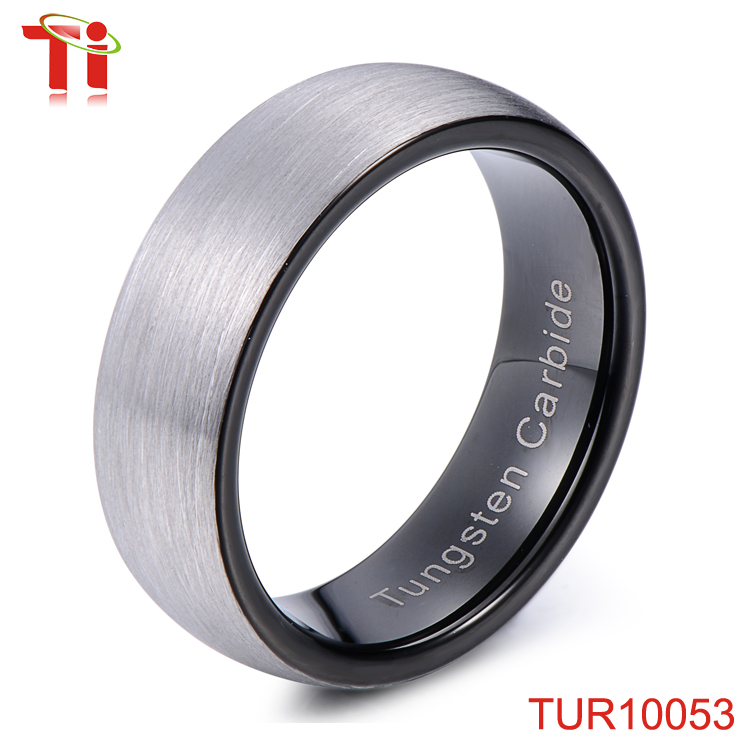 Aohua Jewelry Most Classic and Simple Tungsten Ring Designs for Men, Black Plated Fashion Ring Finger Rings Photos Factory Price