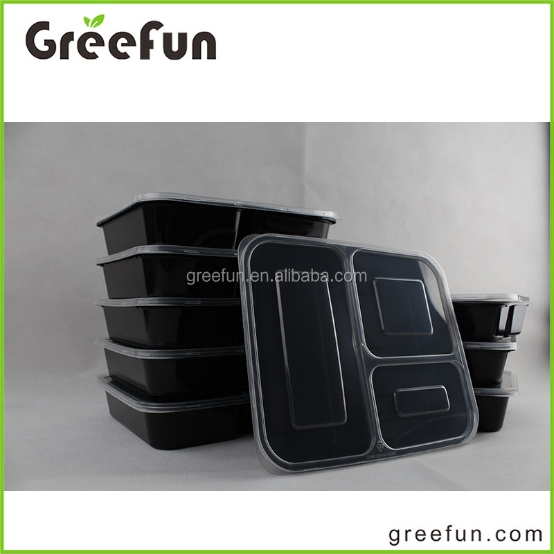 2017 Hot Item 3 Compartment Lunch Box Food Bins Factory Manufacture , Durable Microwave Resuable Plastic Container Bento Box