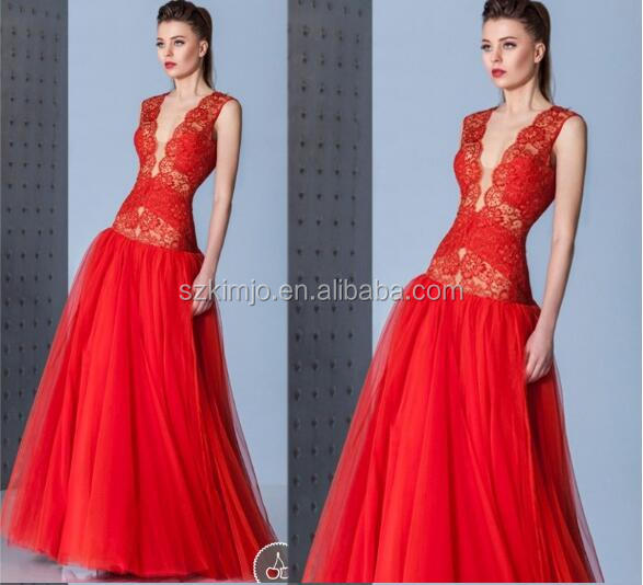 Deep V Neck Red Prom Dresses Long 2018 Lace Applique A Line Sexy Formal Dresses for Women