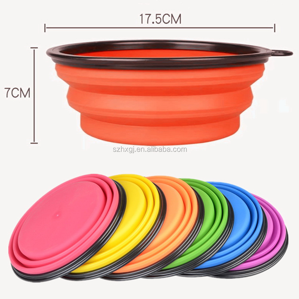 Personalized large size collapsible silicone portable dog food bowl for camping