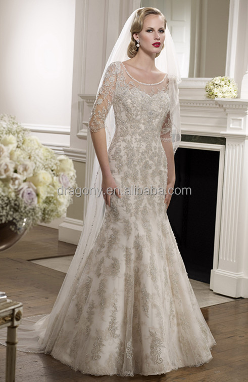 Long Sleeve Mermaid Lace Applique Custom Made Wedding Dresses