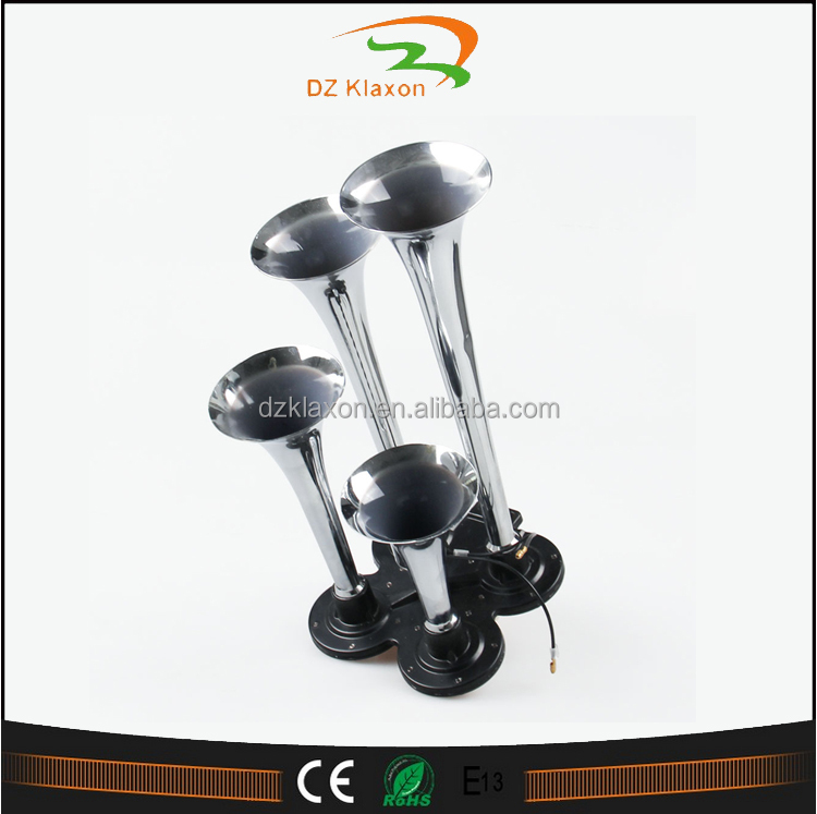 12v 4 pipes air horn for sale , Zinc Horn chrome trumpets with pump for car truck bus