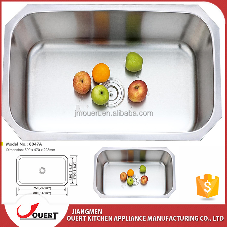Free Anti-dumping Exported from Malaysia stainless steel 304 undermount single bowl portable restaurant kitchen sink