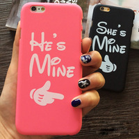 He is mine She is mine PC Matte Hard Lover Couple Case for iphone 5 5S 6 6S 6 plus 6S plus Valentine Gift Cases