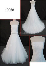 cream color wedding dress with lace detachable train from Guangzhou