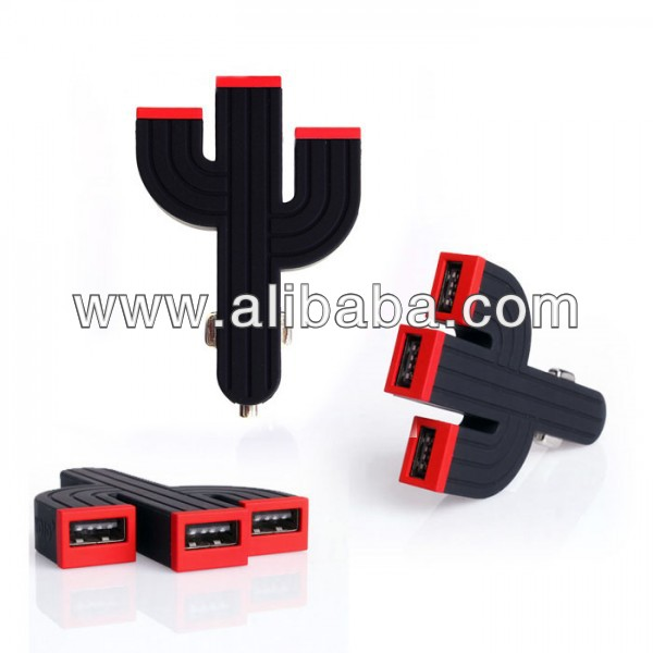 3 USB High Efficiency Car Charger Cactus Style