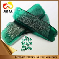 hydrothermal emerald rough gemstone square step cut for 18k gold jewelry