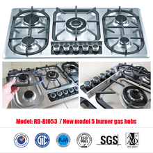 Newest Gas Hob 5 burner gas hob stainless steel built-in (RD-BI053)