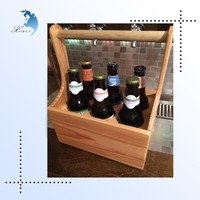 Unique design beer carrier box 6 bottles wooden wine tray/holder with handles