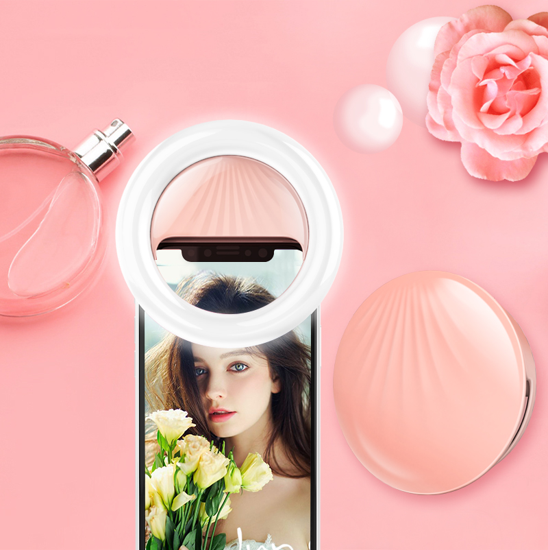 led selfie ring light Rechargeable shell Shape Portable Selfie Light For Smartphone