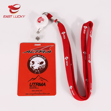 Factory cheap cost key holder reel lanyard strap with id name tag