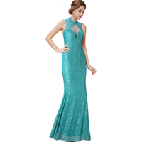Halter green lace mermaid floor length hollow bare summer sleeveless package hip prom dress fashionable korean cocktail dress
