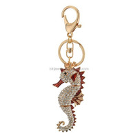 handy and custom golden plating colorful rhinestone sea horse animal pendant key ring jewelry