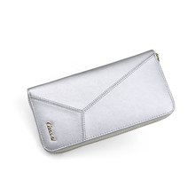 Ladies silver leather wallet change purse zipper wallet