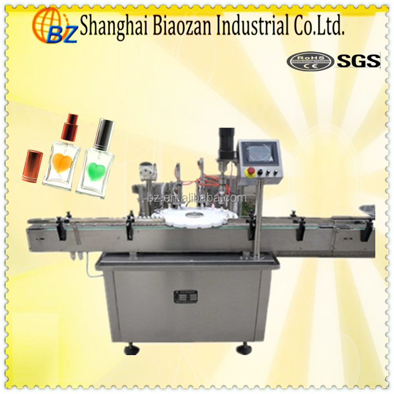 Automatic small glass/plastic bottle e liquid filling capping and labeling machinery