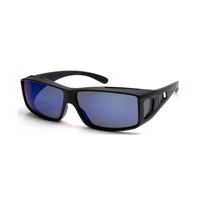 Black Frame Blue Mirror Lens Fits Over UV400 Sunglasses for Driving