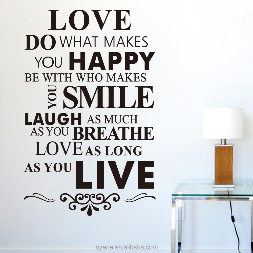 DIY Art Quote wall sticker Decor Room Stickers Vinyl Removable Paper Mural Home Love / Happy /Smile /Live Letter Wall Stickers