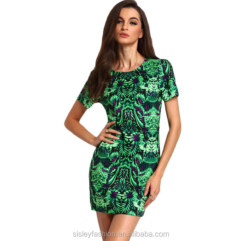 Club Dresses 2016 Summer Womens Sexy Party Dress Night Club Green Crew Neck Short Sleeve Vintage Print Bodycon Dress XTY738