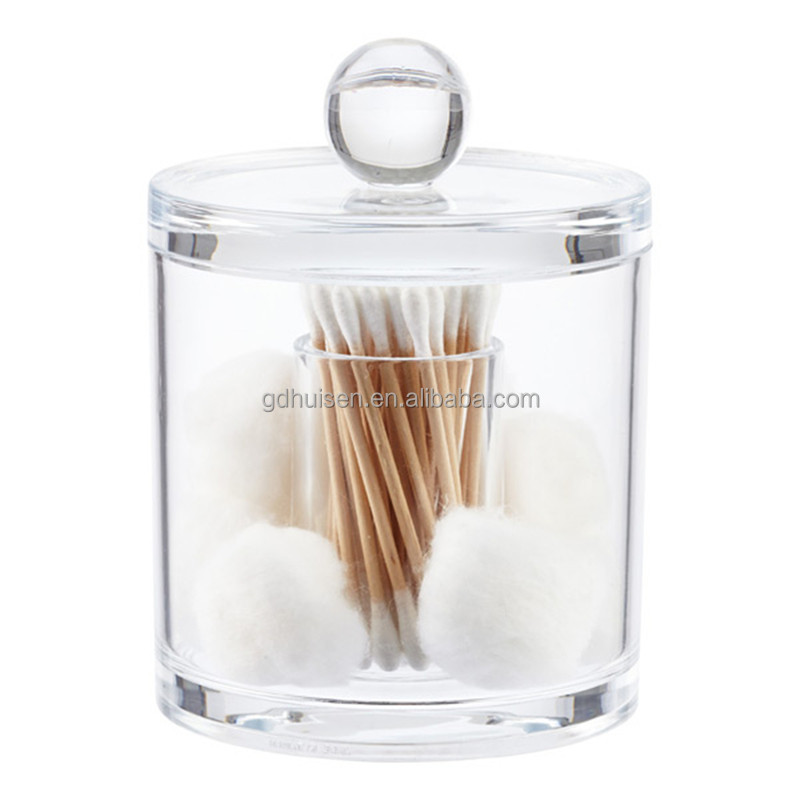 Clear Acrylic Storage Cotton Ball Swab Pad Bathroom Container