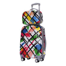 ABS+PC rolling suitcase popular printing design luggage case