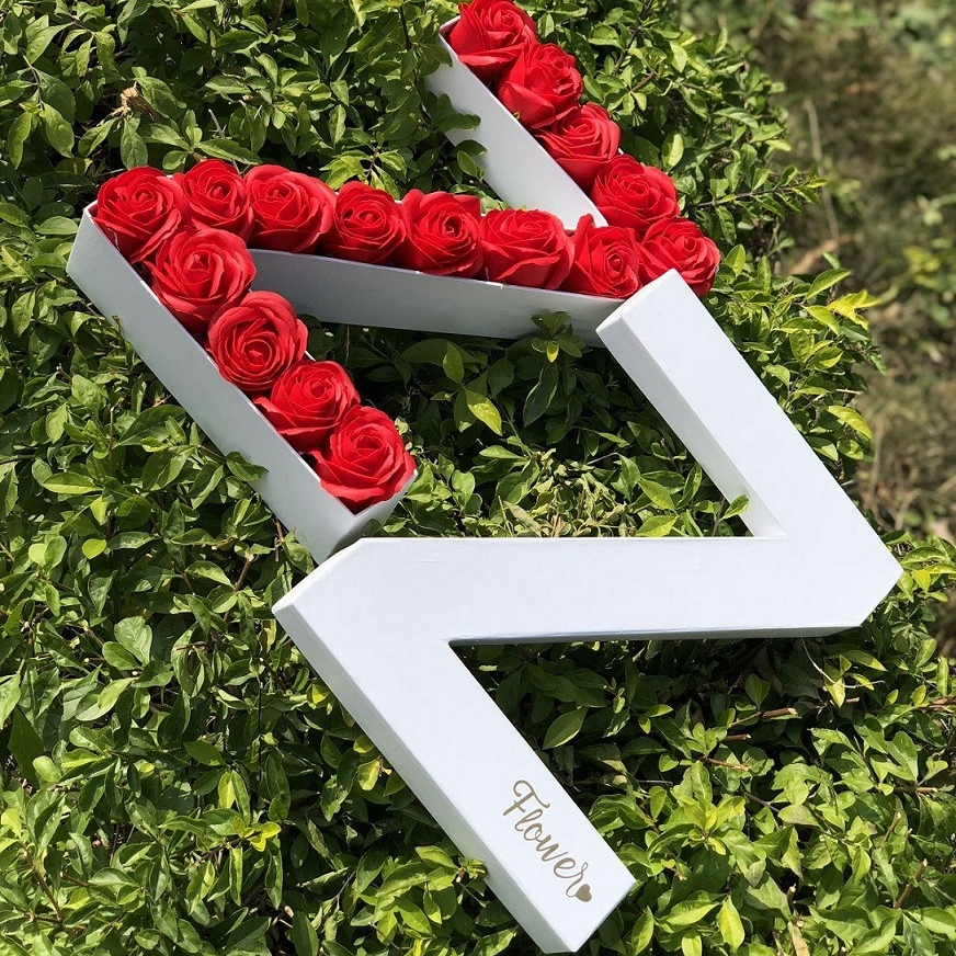 Letter A-Z shaped Customized design high quality paper gift packaging flower boxes