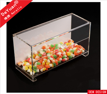 Sliding lid food grade acrylic candy storage box