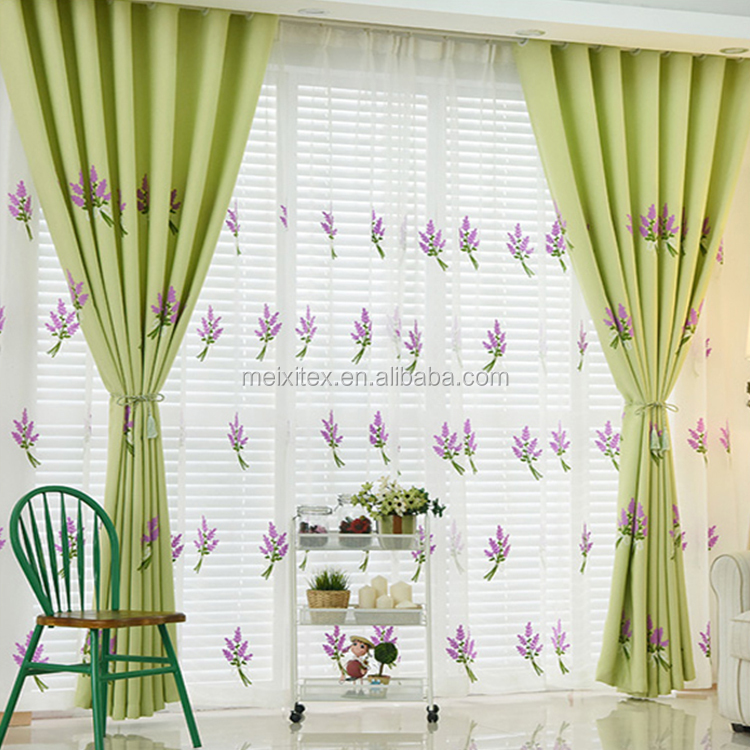 2017 Purple Romantic Embroidered Design Lace Christmas Curtain For Windows
