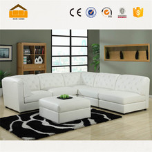 China manufacturer hot sale white leather conner sofa