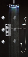 New style LED changing Thermostatic chrome Shower Set with rainfall shower head