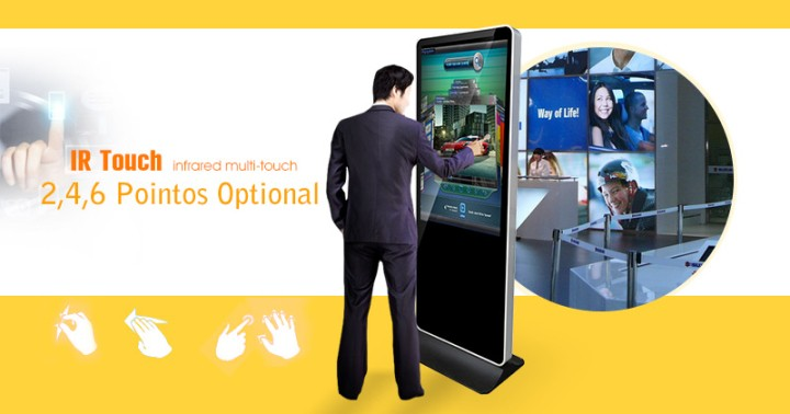 42 Inch Stand alone digital signage touch screen kiosk on wheels